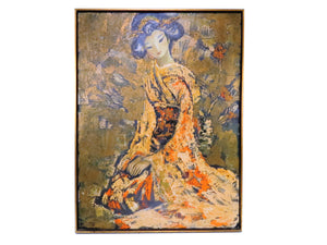 edgebrookhouse - Vintage Jean Maio (1924-1987) Oil Painting on Canvas - Seated Japanese Lady in Kimono