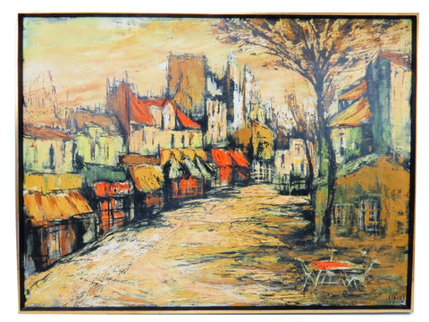 edgebrookhouse - Vintage Jean Maio (1924-1987) Oil Painting on Canvas - Village Street Scene