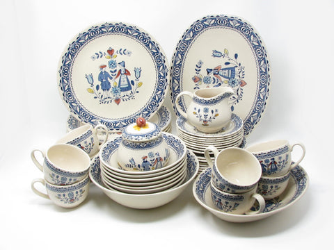 Vintage Johnson Brothers England Hearts & Flowers Dinnerware Set - 45 Pieces
