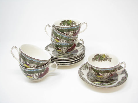 edgebrookhouse - Vintage Johnson Brothers Friendly Village Cups & Saucers England - 12 Pieces - 2 Available