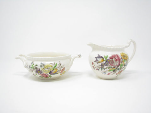 edgebrookhouse - Vintage Johnson Brothers Garden Bouquet Creamer & Sugar Bowl - 2 Pieces