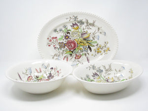 edgebrookhouse - Vintage Johnson Brothers Garden Bouquet Serving Platter and Serving Bowls - 3 Pieces