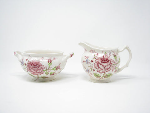 edgebrookhouse - Vintage Johnson Brothers Rose Chintz Pink Creamer & Sugar Bowl - 2 Pieces