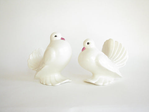 edgebrookhouse - Vintage Large Ceramic White Dove Sculptures / Figurines - a Pair