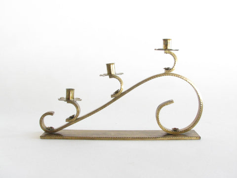 edgebrookhouse - Vintage Large Hand Forged Solid Brass Scroll Candelabra Candle Holder with Brass Bobeches and Rosettes