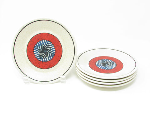 edgebrookhouse - Vintage Lenox Staccato Red and Blue Bread Dessert Plates - Set of 5