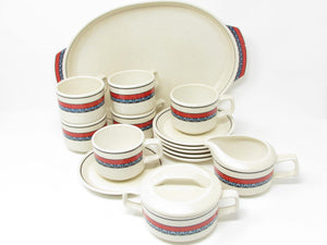 edgebrookhouse - Vintage Lenox Staccato Red and Blue Coffee or Tea Service Set - 15 Pieces