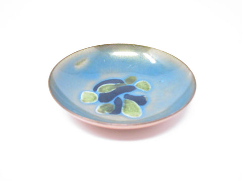 edgebrookhouse - Vintage Leon Statham Enameled Copper Dish with Abstract Blue Turquoise Design
