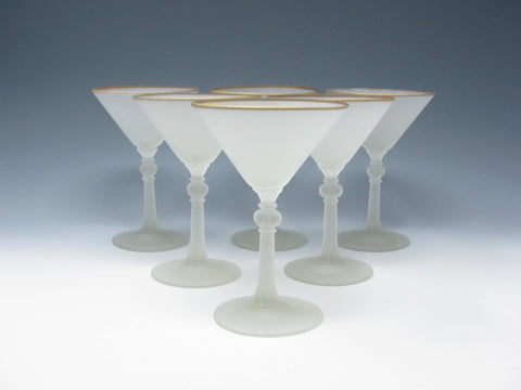 Vintage Frosted Glass Martini Liquor Cocktail Glasses - Set of 6