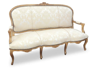 Vintage Louis XV Style Giltwood Open Arm Serpentine Settee