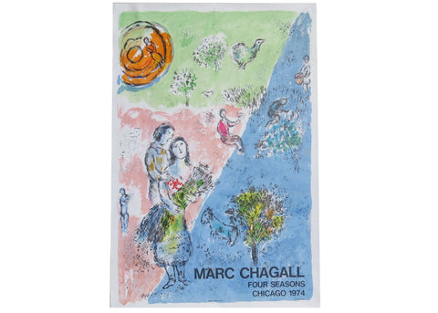 Vintage Marc Chagall Lithographic Poster - the Four Seasons Chicago 1974