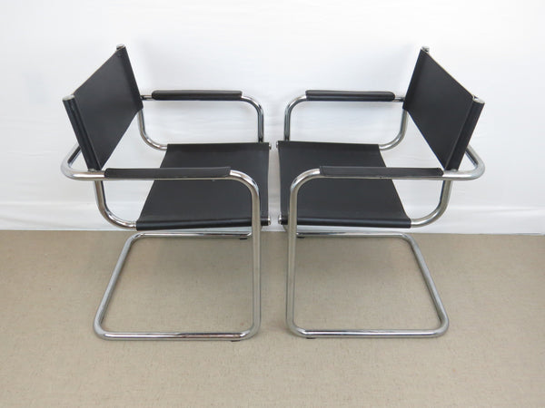 edgebrookhouse - Vintage Mart Stam Style Chrome and Black Leather Cantilever Arm Chairs - Set of 6