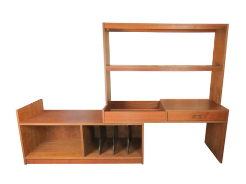 edgebrookhouse - Vintage Mid Century Modern Danish Walnut Sliding Wall Unit / Bookshelf