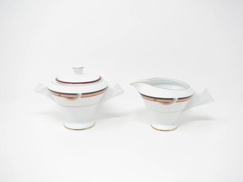 edgebrookhouse - Vintage Mikasa Interplay Art Deco Style Creamer and Lidded Sugar Bowl - 2 Pieces