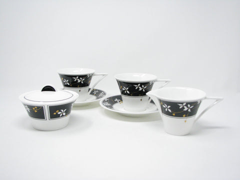 edgebrookhouse - Vintage Mikasa Night Blossoms Bone China Coffee Tea Set for 2 - 6 Pieces