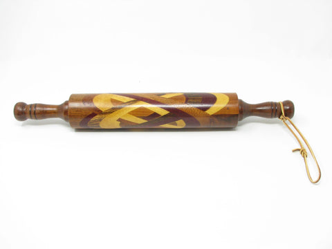 edgebrookhouse - Vintage Mixed Wood Rolling Pin With Inlaid Celtic Design and Leather Strap