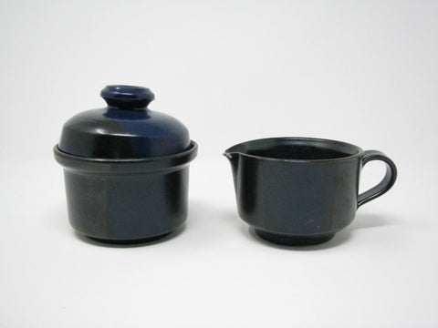 edgebrookhouse - Vintage Nancy Patterson Iron Mountain Stoneware Blue Ridge Creamer & Lidded Sugar Bowl - 2 Pieces