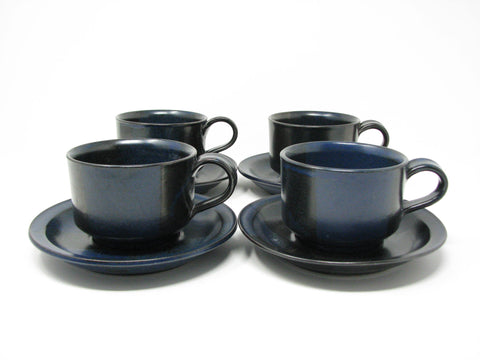 edgebrookhouse - Vintage Nancy Patterson Iron Mountain Stoneware Blue Ridge Cups & Saucers - 4 Sets
