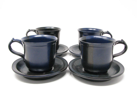 edgebrookhouse - Vintage Nancy Patterson Iron Mountain Stoneware Blue Ridge Mugs & Saucers - 8 Pieces