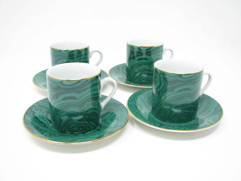 Vintage Neiman Marcus Porcelain Demitasse Cups & Saucers with Malachite Design - 8 Pieces