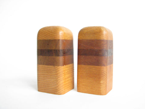 edgebrookhouse - Vintage Oak and Walnut Salt and Pepper Shakers - 2 Pieces