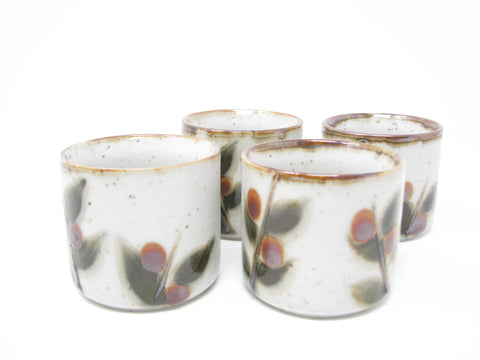 edgebrookhouse - Vintage Otagiri Bittersweet Stoneware Sake or Tea Cups with Berry Leaves Design - Set of 4
