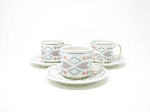 Vintage Otagiri Figi Graphics Cups & Saucers with Southwestern Design - 6 Pieces