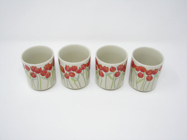 edgebrookhouse - Vintage Otagiri Tea or Sake Cups with Orange Tulips - Set of 4