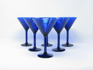 Vintage Pier 1 Cobalt Blue Glass Martini Glasses - 6 Pieces
