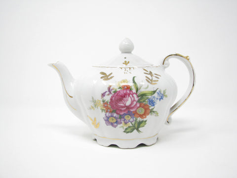 edgebrookhouse - Vintage Porcelain Music Box Teapot with Handpainted Floral Design - Plays Tea for Two