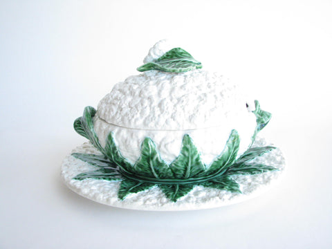 edgebrookhouse - Vintage Portugal Faience Majolica Cauliflower Shaped Soup Tureen and Underplate
