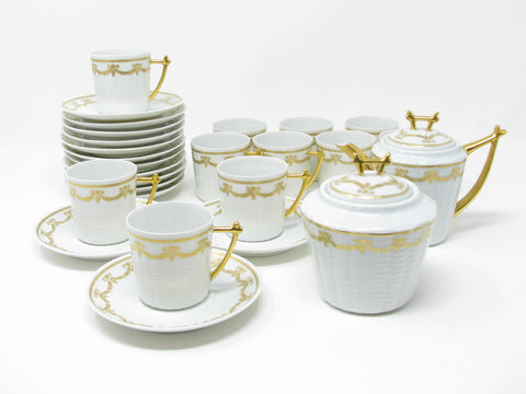 Vintage Richard Haviland Charles Field Haviland Limoges Pergolia Gold Demitasse Tea or Coffee Service - 24 Pieces