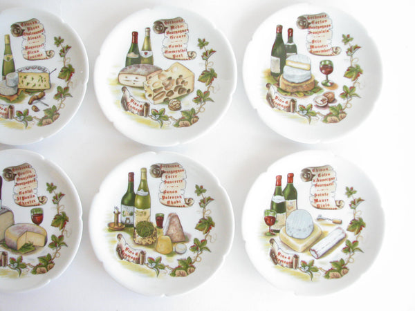 edgebrookhouse - Vintage Rochard Limoges France Wine and Cheese Porcelain Canape or Bread Plates - set of 6