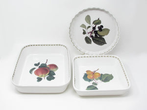 Vintage Rosina Queens Hookers Fruit Baking Dish Set Square Rectangular Quiche - 3 Pieces