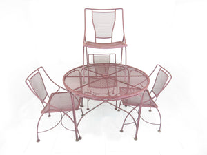 edgebrookhouse - Vintage Salterini Style Rustic Iron Patio Dining Set - 5 Pieces