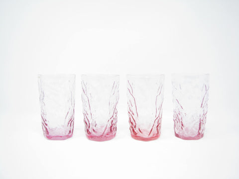 Vintage Seneca Driftwood Heather Pink Crinkle Glass Tumblers or Juice Glasses - 4 Pieces