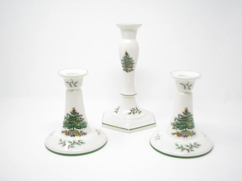 edgebrookhouse - Vintage Spode Christmas Tree Candleholders - Set of 3