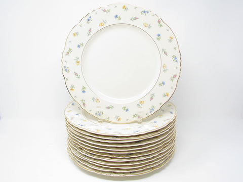 Vintage Syracuse Suzanne Dinner Plates with Floral & Gold Trim - 13 Pieces