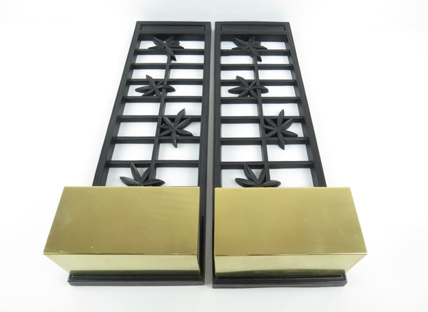 edgebrookhouse - Vintage Syroco Ebonized Wood and Brass Wall Planters - a Pair