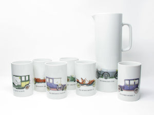 edgebrookhouse - Vintage Thomas Germany Porcelain Classic Cars Autos Cups & Pitcher Set - 7 Pieces