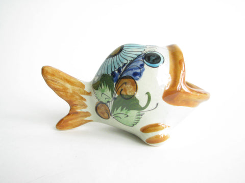 edgebrookhouse - Vintage Tonala Mexico Hand-Painted Pottery Fish Catchall by CAT