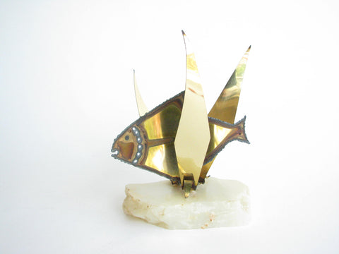 edgebrookhouse - Vintage Torch Cut Brass Fish on Onyx Base in the Style of Curtis Jere