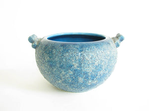 edgebrookhouse - Vintage Turquoise Volcanic Glaze Pottery Planter with Handles