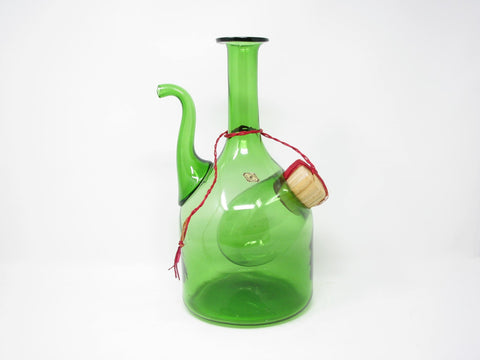 Vintage Vetri De Empoli Italy Green Blown Glass Wine Decanter with Straw Stopper