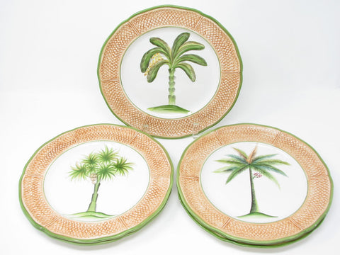 Vintage Vietri Oasi Palm Tree Dinner Plates with Textured Coral Border - 5 Pieces