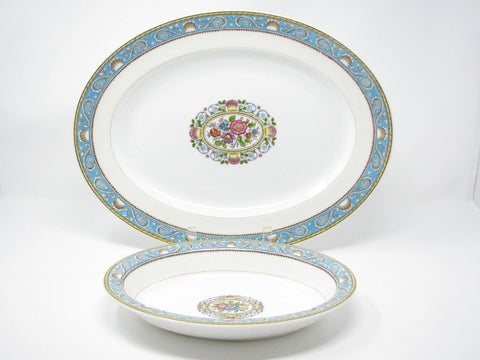 edgebrookhouse - Vintage Wedgwood Runnymede Turquoise Serving Platter and Serving Bowl with Shell Motif - 2 Pieces