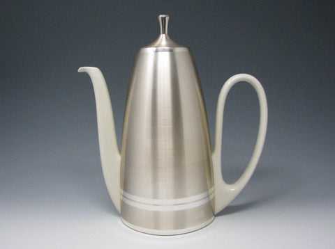edgebrookhouse - Vintage West Germany Art Deco Style Porcelain Silver Plate Insulated Coffee Pot