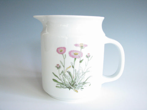 edgebrookhouse - Vintage White China Pitcher with Pink Floral Motif