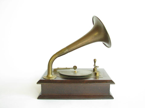 edgebrookhouse - Vintage Wood and Brass Phonograph Music Box Plays Swan Lake