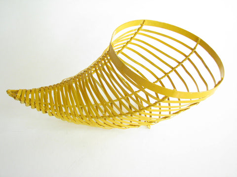edgebrookhouse - Vintage Yellow Metal Cornucopia Fruit or Decorative Basket